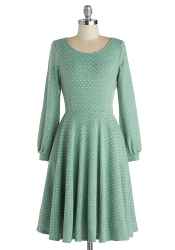 Fair Warming Dress - Polka Dots, Pockets, Casual, A-line, Long Sleeve, Better, Scoop, Mint, White, Knit, Mid-length