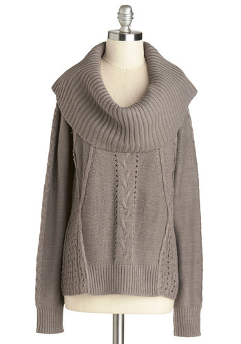 Cozy in the Kitchen Sweater - Brown, Solid, Long Sleeve, Better, Short, Sheer, Knit, Knitted, Grey, Long Sleeve