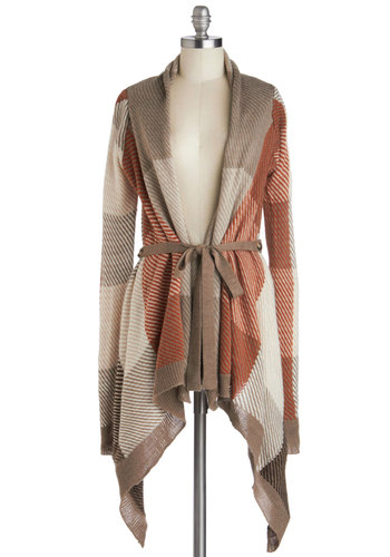 Season for Snuggling Cardigan - Checkered / Gingham, Long Sleeve, Better, Mid-length, Knit, Multi, Orange, Tan / Cream, Handkerchief, Belted, Casual, Fall, Brown, Long Sleeve