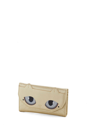 What a Glamourpuss Wallet - Gold, Multi, Print with Animals, Cats, Faux Leather, Quirky