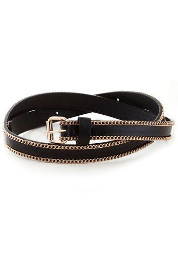 Link Positive Belt by Kling - Black, Gold, Solid, Chain, International Designer, Faux Leather
