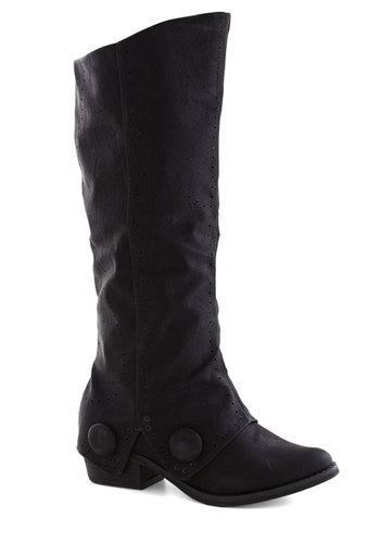 See You in Senoia Boot - Black, Solid, Buttons, Low, Good, Faux Leather, Casual, Vintage Inspired, 20s, Steampunk