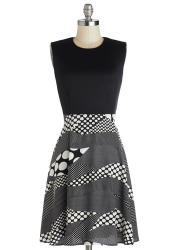 Groovy Mood Dress - Knit, Black, White, Polka Dots, Casual, A-line, Sleeveless, Better, Crew, Mod, Exclusives, Top Rated, Mid-length