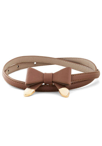 Beauty and Bows Belt by Kling - Solid, Bows, International Designer, Tan, Gold, Faux Leather