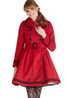 A Welcomed Moment Coat - Long, 3, Red, Buttons, Belted, Long Sleeve, Better, Solid, Epaulets, Pockets, Trim, Double Breasted, Fall, Winter, Red, Gifts Sale