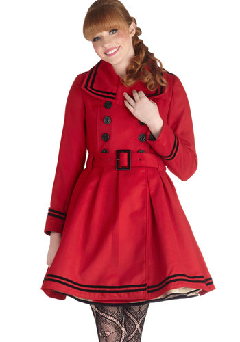 A Welcomed Moment Coat in Red - Red, Buttons, Belted, Long Sleeve, Better, Solid, Epaulets, Pockets, Trim, Double Breasted, Fall, Winter, Red, Gifts Sale, 3, Long