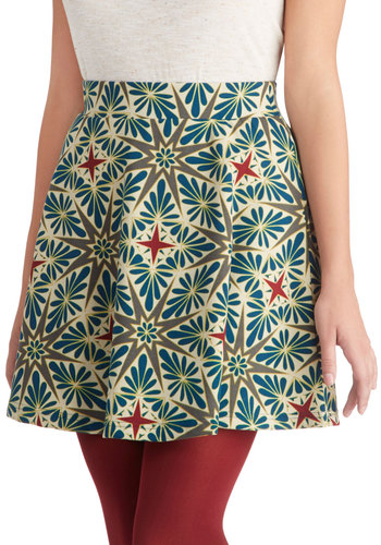 Keen on Color Skirt - Short, Knit, Print, Casual, Folk Art, Multi, A-line, Multi