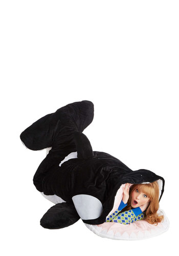 Sea-nic Adventures Sleeping Bag in Orca - Black, White, Nautical, Quirky, Best, Travel