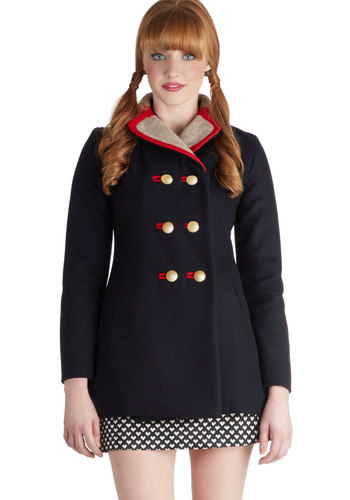 Lauren Moffatt Cheerful Catch Up Coat by Lauren Moffatt - Long, 4, Blue, Red, Tan / Cream, Solid, Buttons, Pockets, Trim, Vintage Inspired, 60s, Double Breasted, Long Sleeve, Fall, Winter, Blue