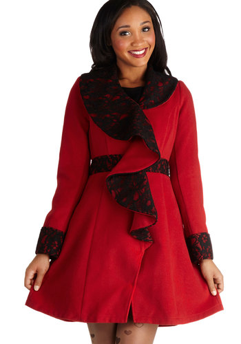 West End Weekend Coat by Ryu - 3, Red, Lace, Ruffles, Formal, Party, Cocktail, Holiday Party, Luxe, Long Sleeve, Winter, Better, Knit, Mid-length, Red