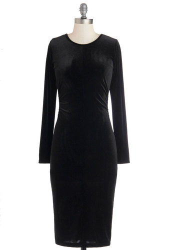 Out of the Black Box Dress - Black, Solid, Ruching, Party, Bodycon / Bandage, Long Sleeve, Good, Scoop, Long, Knit, Winter, Girls Night Out, Holiday Party