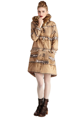 Mesa Verde Visit Coat by BB Dakota - Long, Faux Fur, Woven, 2, Tan, Print, Pockets, Long Sleeve, Fall, Winter, Brown