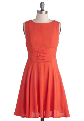 Keeping with Coral Dress by Mink Pink - Short, Chiffon, Woven, Solid, Party, A-line, Sleeveless, Better, Coral, Exposed zipper, Daytime Party, Halloween