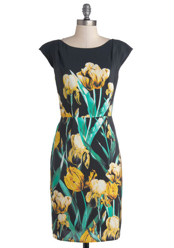 Bouquet of Brilliance Dress by Corey Lynn Calter - Mid-length, Woven, Black, Yellow, Green, Floral, Party, Shift, Cap Sleeves, Best, Wedding, Cocktail, Boat, Work, Graduation