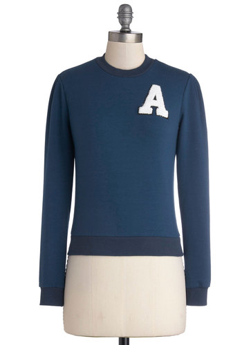 Team Adorable Sweatshirt by Bea & Dot - Private Label, Short, Cotton, Knit, Blue, White, Casual, Scholastic/Collegiate, Sweatshirt, Long Sleeve, Exclusives, Crew, Blue, Long Sleeve