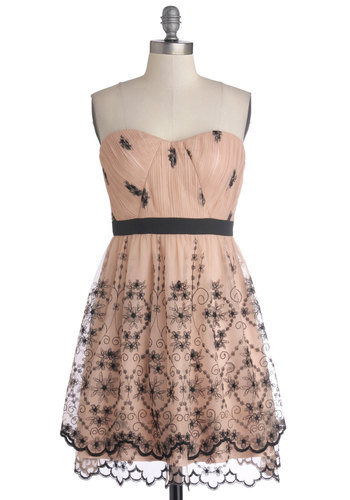 Romantic Reception Dress - Short, Knit, Pink, Black, Embroidery, A-line, Strapless, Better, Sweetheart, Party, Valentine's