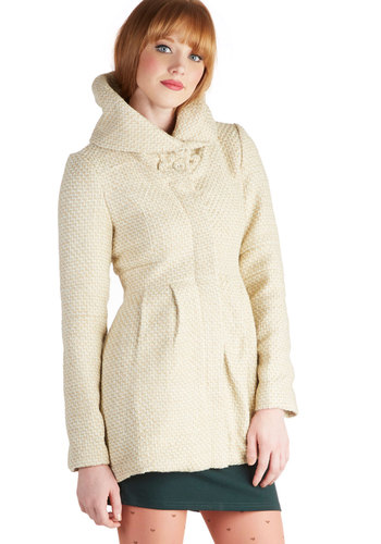 Just What You Tweed Coat - 4, Cream, Solid, Buttons, Pockets, Long Sleeve, Fall, Winter, White, Long