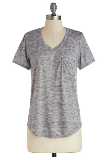 Carefree for the Day Top in Grey - Mid-length, Jersey, Knit, Grey, Pockets, Casual, Short Sleeves, Variation, Basic, V Neck, Grey, Short Sleeve