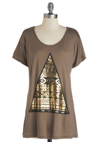 Bike's Peak Top - Brown, Gold, Novelty Print, Short Sleeves, Good, Long, Knit, Casual, Jersey, Scoop, 90s, Brown, Short Sleeve