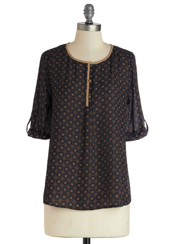 Darling Decorator Top - Blue, Buttons, Casual, Good, Sheer, Woven, Mid-length, Tan / Cream, Print, 3/4 Sleeve, Blue, Tab Sleeve