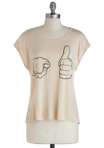 Court Gesture Top - Tan, Novelty Print, Good, Mid-length, Jersey, Knit, Casual, Cap Sleeves, Scoop, White, Short Sleeve