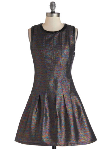 Intergalactic Gal Dress - Short, Woven, Multi, Black, Pleats, Party, Fit & Flare, Sleeveless, Good, Crew