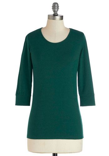 Teal the End Top - Green, Solid, 3/4 Sleeve, Good, Cotton, Knit, Mid-length, Casual, Minimal, Basic, Scoop, Green, 3/4 Sleeve