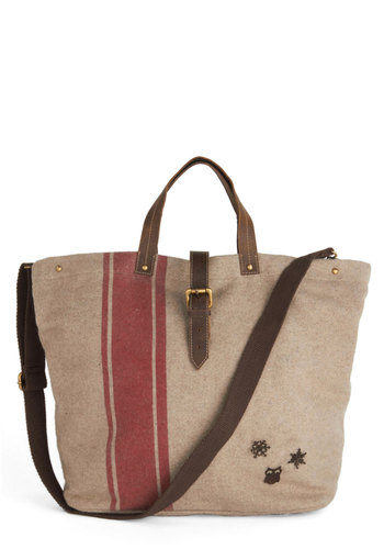 You Snow Who Bag by Nice Things - Tan, Red, Brown, Buckles, International Designer, Owls, Leather, Stripes, Work, Woven