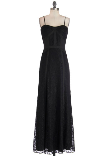 Ethereal Ambiance Dress - Long, Woven, Black, Solid, Special Occasion, Maxi, Spaghetti Straps, Best, Sweetheart, Prom, Wedding, Bridesmaid, 20s, Lace