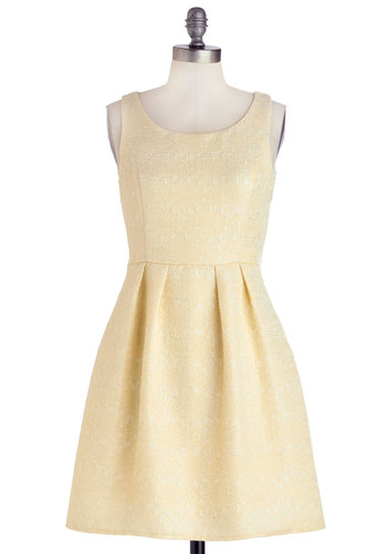 If You've Got It, Flan It! Dress - Short, Woven, Cream, Floral, Party, Bride, A-line, Sleeveless, Good, Scoop, Wedding, White, Graduation