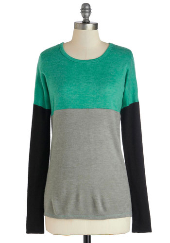 Hops to It Sweater - Colorblocking, Long Sleeve, Good, Mid-length, Knit, Green, Blue, Black, Grey, Casual, Multi, Long Sleeve