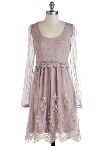 Rose Tea Time Dress - Pink, Solid, Lace, Daytime Party, A-line, Long Sleeve, Scoop, Vintage Inspired, Better, Mid-length, Sheer, Knit, Embroidery, Fairytale, Pastel