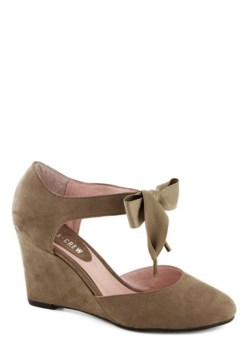 Live for Today Wedge in Taupe by Chelsea Crew - Tan, Solid, Wedge, Mid, Better, Bows, Party, Daytime Party