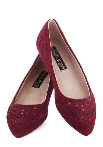 Cranberry Bliss Flat - Red, Solid, Cutout, Flat, Better, Leather, Work, Casual