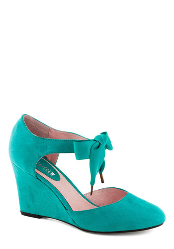 Live for Today Wedge in Teal by Chelsea Crew - Blue, Solid, Wedge, Lace Up, Faux Leather, Better, Green, Party, Daytime Party, Bows