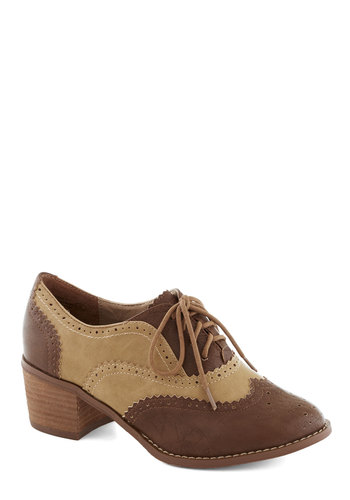 I'd Rather Walk Heel in Brown - Tan / Cream, Menswear Inspired, Colorblocking, Mid, Good, Lace Up, Chunky heel, Faux Leather, Brown, Work, Vintage Inspired, Scholastic/Collegiate, Variation, Top Rated