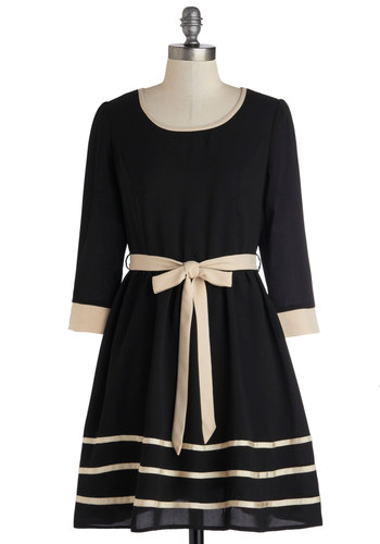 Following Borders Dress - Chiffon, Woven, Mid-length, Black, Tan / Cream, Trim, Belted, Party, A-line, 3/4 Sleeve, Good, Scoop, Work