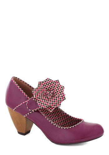 Let's Hear it for the Boysenberry Heel - Purple, Multi, Polka Dots, Flower, Mid, Better, Solid, Daytime Party, Faux Leather, Mary Jane
