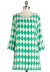 Peppy Potluck Tunic - Long, Woven, Green, White, Mod, 3/4 Sleeve, Better, Boat, Checkered / Gingham, Pockets, Casual, Vintage Inspired, 60s, Exclusives