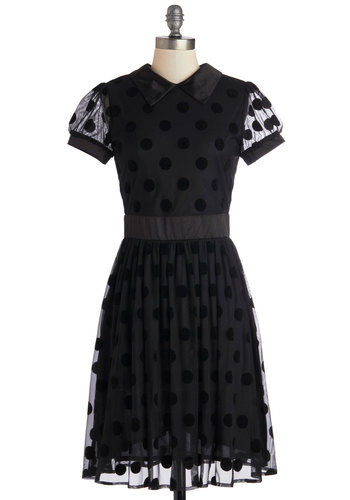 Tremendous Taste Dress - Mid-length, Sheer, Satin, Knit, Black, Party, A-line, Cap Sleeves, Better, Collared, Polka Dots, Vintage Inspired, LBD