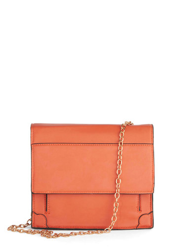 Orange You Grad Bag by Kling - Orange, Gold, Solid, International Designer, Faux Leather, Chain