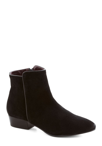 Interior Design Student Bootie - Black, Solid, Minimal, Low, Leather, Suede, Better, 90s