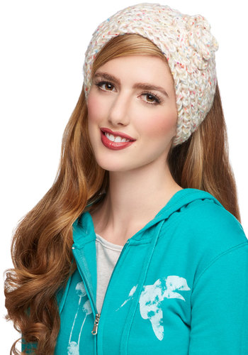 Inspiring Stroll Ear Warmer - Solid, Flower, Fall, Winter, Good, Knit, Cream, Multi, Knitted, Casual
