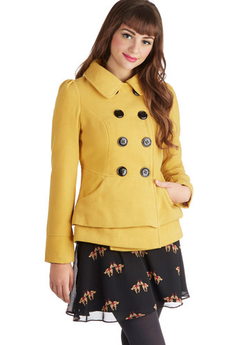 Daily Delights Coat by Steve Madden - Mid-length, Buttons, Military, Fall, Good, 3, Solid, Pockets, Tiered, Double Breasted, Collared, Long Sleeve, Knit, Yellow, Yellow, Top Rated