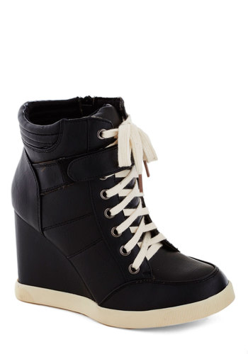A Capella Attitude Wedge - Mid, Faux Leather, Black, Urban, Good, Wedge, Lace Up, Solid, Casual