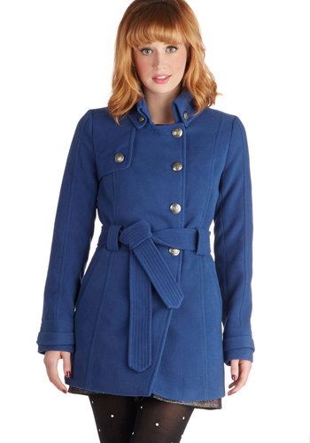 Out in the Open Air Coat in Blue by Jack by BB Dakota - Long, 4, Blue, Solid, Buttons, Pockets, Belted, Long Sleeve, Fall, Winter, Variation, Blue, Top Rated