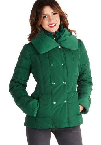 Game Date Jacket - Green, Solid, Pockets, Long Sleeve, Better, Mid-length, 5, Buttons, Quilted, Casual, Winter, Green