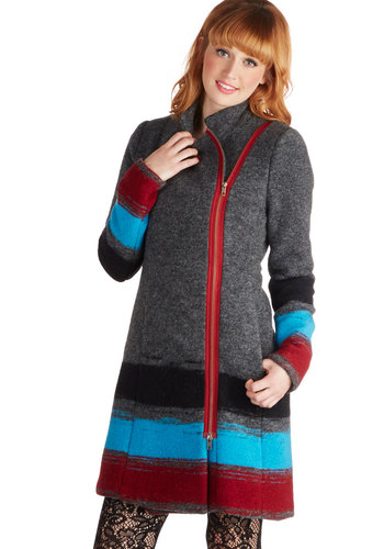 Plenty by Tracy Reese Destination Duluth Coat by Plenty by Tracy Reese - Long, 5, Grey, Stripes, Pockets, Long Sleeve, Winter, Folk Art, Multi