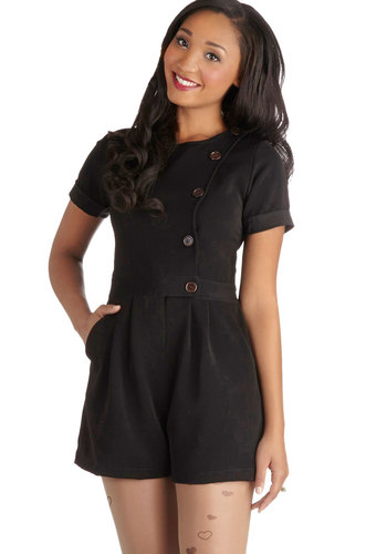Simply Chic Romper - Long, Woven, Black, Solid, Buttons, Pockets, Casual, Short Sleeves, Crew