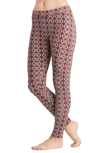 Hello Hexagon Leggings by PACT - Red, Better, Cotton, Knit, Print, Eco-Friendly